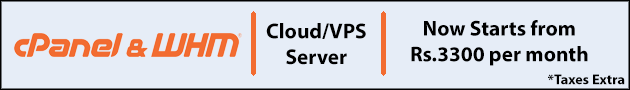 Cloud/VPS server with cPanel WHM - staring from Rs.2975 per month
